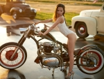Model with a Motorcycle