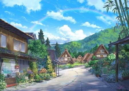 Japanese Village - house, japanese, manga, sky, japan, anime, village, orginal, scenery