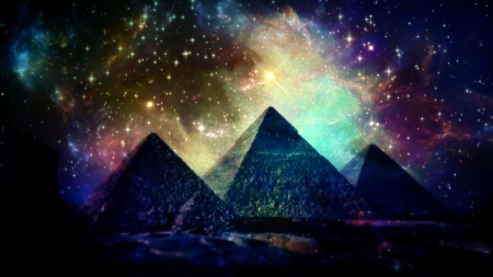 Pyramids galaxy - awakening, invisible force, zen, universe, pyramids, spirituality, power within, galaxy
