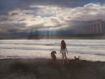 Girl with cat and dog on the beach