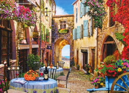 French Village - table, wine, houses, painting, flowers, artwork