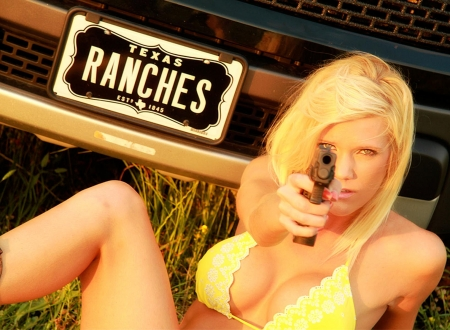 Ranch Security . . - models, pistol, cowgirl, ranch, outdoors, women, guns, NRA, truck, blondes, western