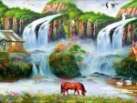 Lovely Waterfalls Painting
