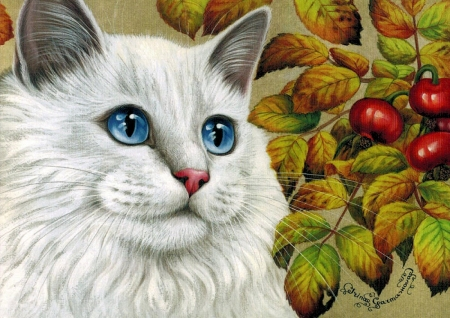 White Persian - oses, kitty, painting, rosehips, cat, artwork