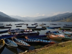 Boats on Lake Pokhara, Nepal