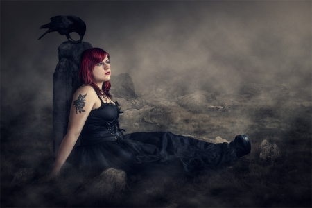 The Grave - bird, woman, girl, grave, dark