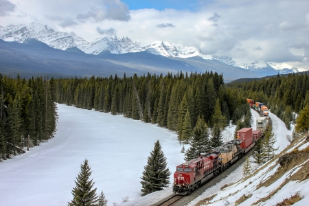 CP Rail in the Canadian Rockies - forests, train, snow, mountains