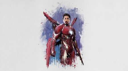 Iron Man - movie, comics, avengers, blue, poster, art, red, Robert Downey jr, iron man, fantasy, actor