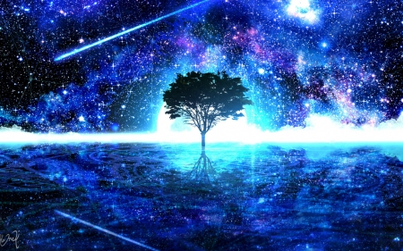 Aesthetic Background Landscape Galaxy