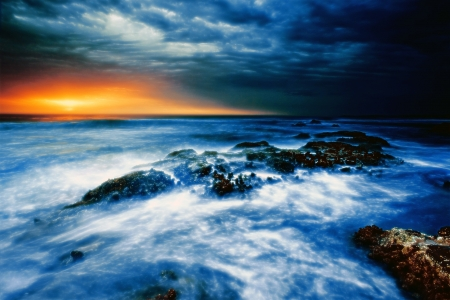 Ocean Sunset - Sunset, Sea, Water, Sky, Waves, Ocean