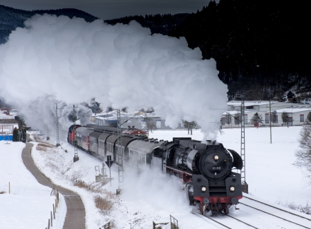 Steam train_Winter - locomotives, train, black, technology, steam, white, night, winter