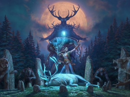 Wolfhunter - elder scrolls, fantasy, luminos, girl, game, werewolf, archer, wolfhunter