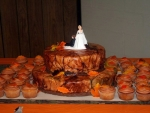 Orange Camo Cake Fall Wedding
