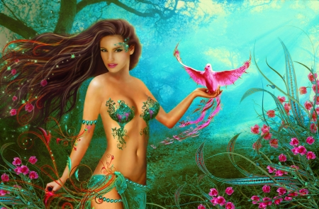 Paradisial Bird - pretty, art, fantasy, girl, bird, digital, pink, fairy, beautiful