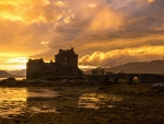 Eilean Donan Castle in North-West Scotland in the Sunset