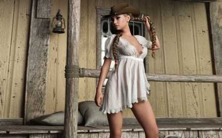 Pretty Cowgirl - saloon, Braids, Cowgirl, dress, sexy, Feminine, western, hat, braids
