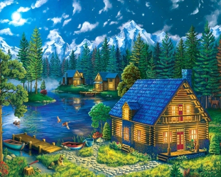 Forest Cabins - paintings, lakes, love four seasons, summer, attractions in dreams, nature, forests, cabins, boats