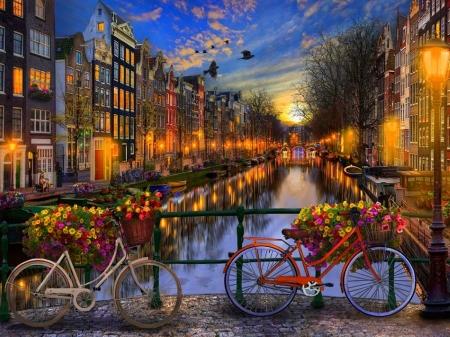 Amsterdam Aglow Bridges Amp Architecture Background