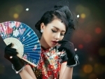 Chinese Girl Retro Style Dress And Fan