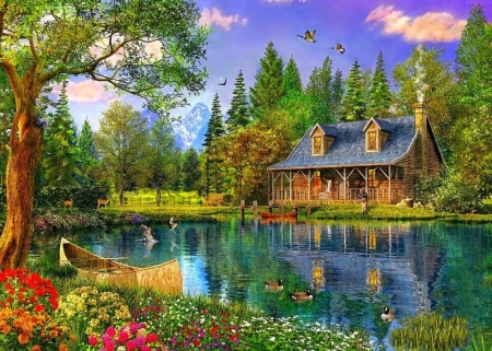 Spring Lake - Boat, Flowers, Cottage, Birds, Deers
