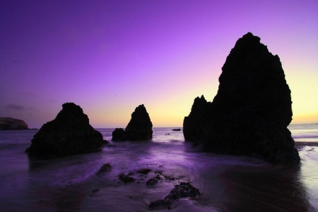 Coastline purple sunset - sunset, nature, caoastline, beaches, purple