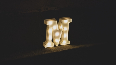 :-) - dark, light, behi, m, letter, lights