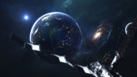 Space - Firefox theme, planets, moons, stars, galaxies, blue, lights, satelite
