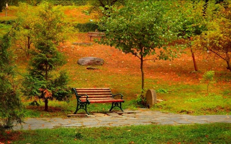 Autumn Park - path, leaves, trees, benches