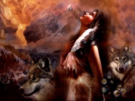 Native World - painting, predators, wolves, girl, wolfpack