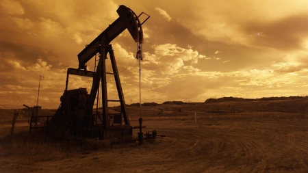 Pumpjack in Nigeria at Sunset - Pumpjack, Industrial, Sunset, Nigeria, Building