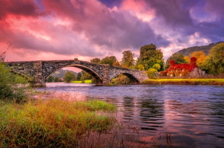 Autumn in countryside - countryside, autumn, house, bridge, beautiful, river, sunset, sky, colorful
