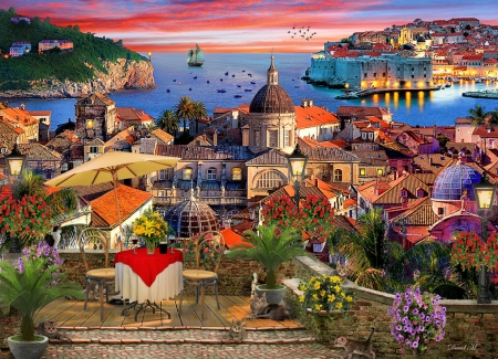 Dubrovnik - sea, veranda, table, mediterranean, houses, town, sunset, wall, church, sky, artwork, chairs, painting