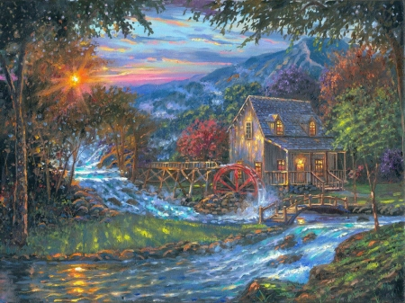 Change of Seasons - Robert Finale - mill, painting, river, sunset, trees, landscape, artwork, watermill, stones, mountains