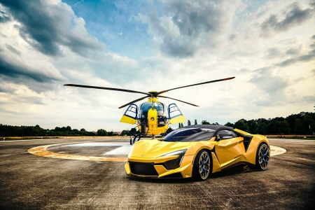 Fenyr Supersport and Helicopter - yellow, sports car, cars, helicopter