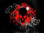 Red Splash Vinyl Skull