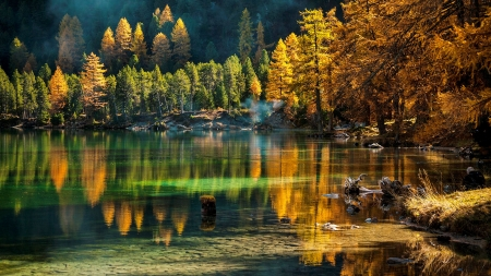 Colorful reflections - colorful, mountain, forest, autumn, beautiful, trees, lake