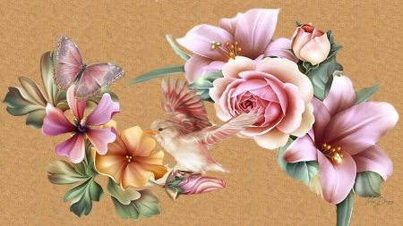 Lily Roses Pink - pink, floral, Firefox theme, parchment, pink rose, butterfly, bird, morning glory, flowers, lily, summer, paper, vintage