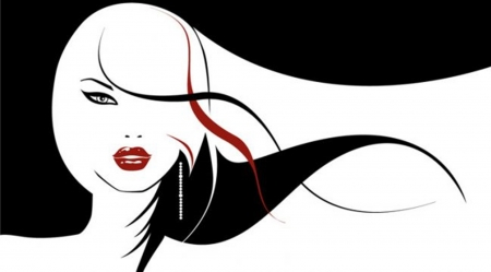 red & black - lips, art, red, cool, paintings, illustrations