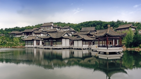 Chinese Houses and Temple by the Lake - Temple, Chinese, Building, Religious, Houses, Lake