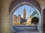 View of Big Ben and Palace of Westminster through a pedestrian tunnel London