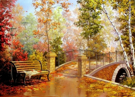 Colorful Autumn - river, trees, bridge, leaves, painting, bench