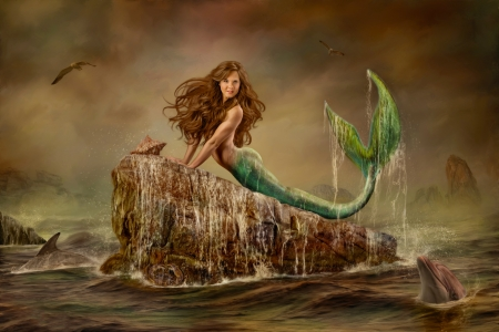 Mermaid on Rock - Fantasy & Abstract Background Wallpapers on ...