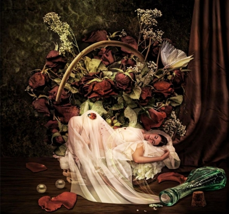 Sleeping beauty - flowers, roses, girl, basket, artwork