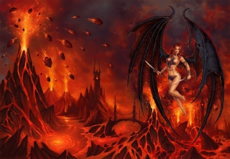 Demoness - red, fire, demon, wings, fantasy, luminos, girl, hell