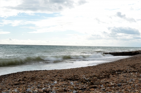Rolling Sea - shingle beach, beach, wind, sea