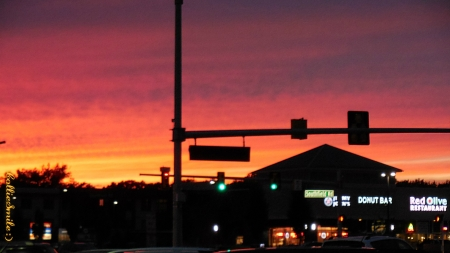 Sunset & Green Lights - green lights, orange, deep pink, sunset, traffic lights, sky, 1ight, cie11, skies, purple, signs, golden yellow, Traffic Signals nSigns