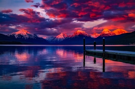 Pink and Blue - pink, pier, blue, skies, alaska, lake