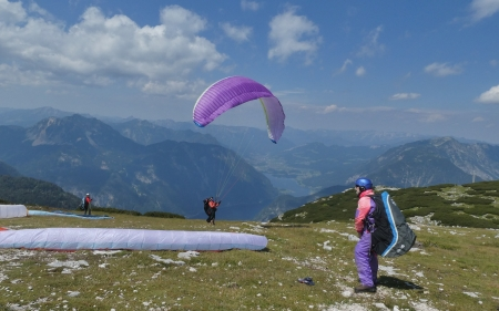 Paragliders at Start - Austria, paragliding, lake, mountains