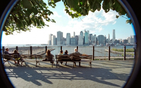 Brooklyn Heights Promenade - promenade, New York, USA, benches, Brooklyn, skyscrapers