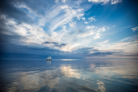 Sailboat in Ocean Blue - Sea, Sailboats, Oceans, Nature, Clouds